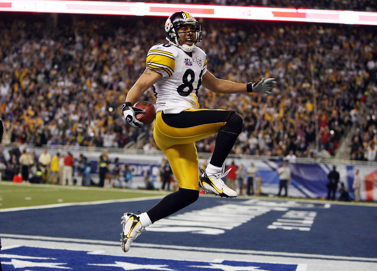 Pittsburgh Steelers wide receiver Hines Ward leaps in the end zone after catching a 43-yard touchdown pass from Antwaan Randle El. Randle El, a wide receiver who played quarterback in college, threw the pass after a wide receiver reverse that left Ward wide open. Ward led all receivers with 123 yards on five catches in the 21-10 win over the Seattle Seahawks.