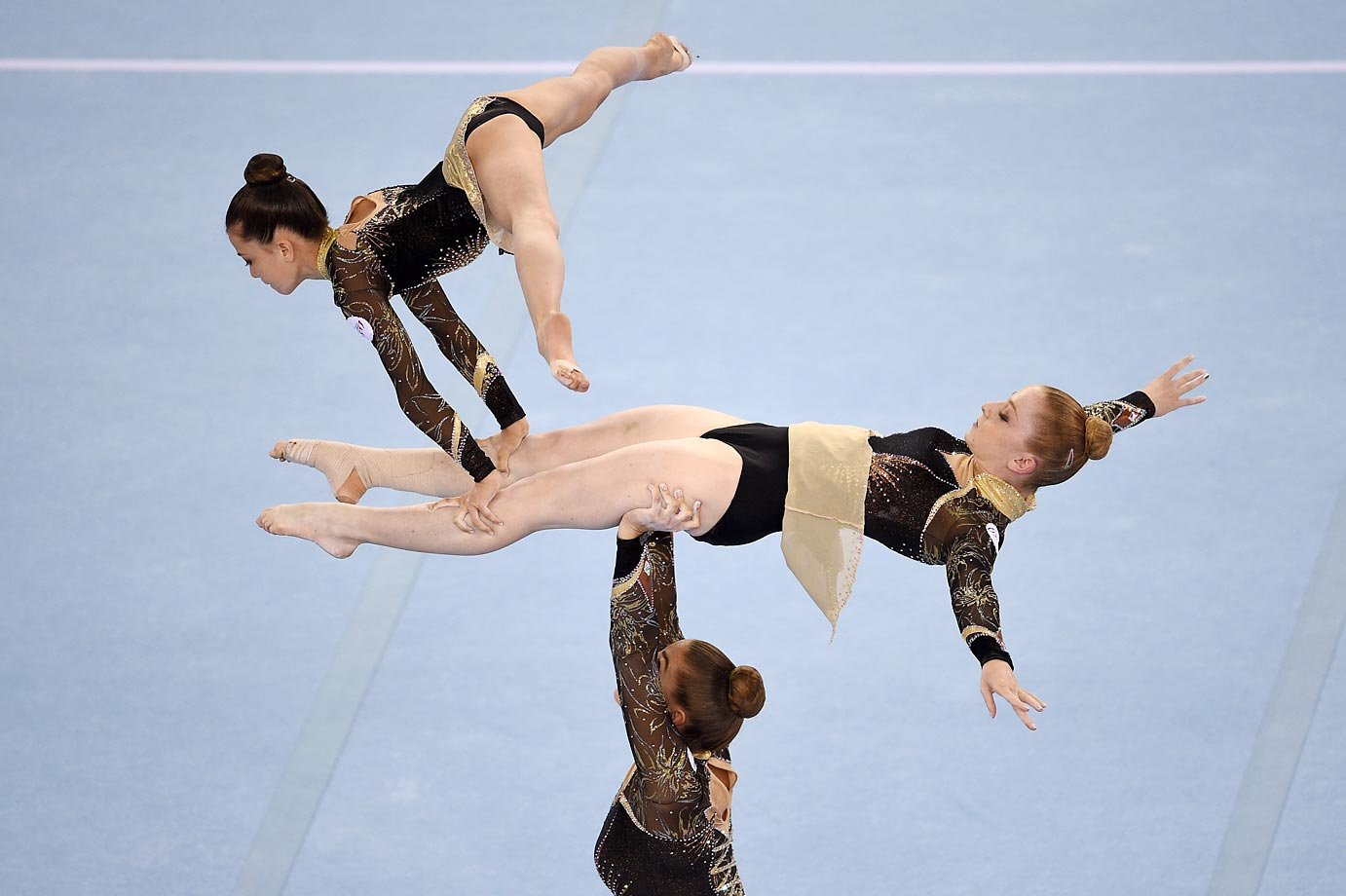 Tiphanie Bonnet, Agathe Meunier and Laura Viaud of France compete during the 1st European Olympic Games 2015.