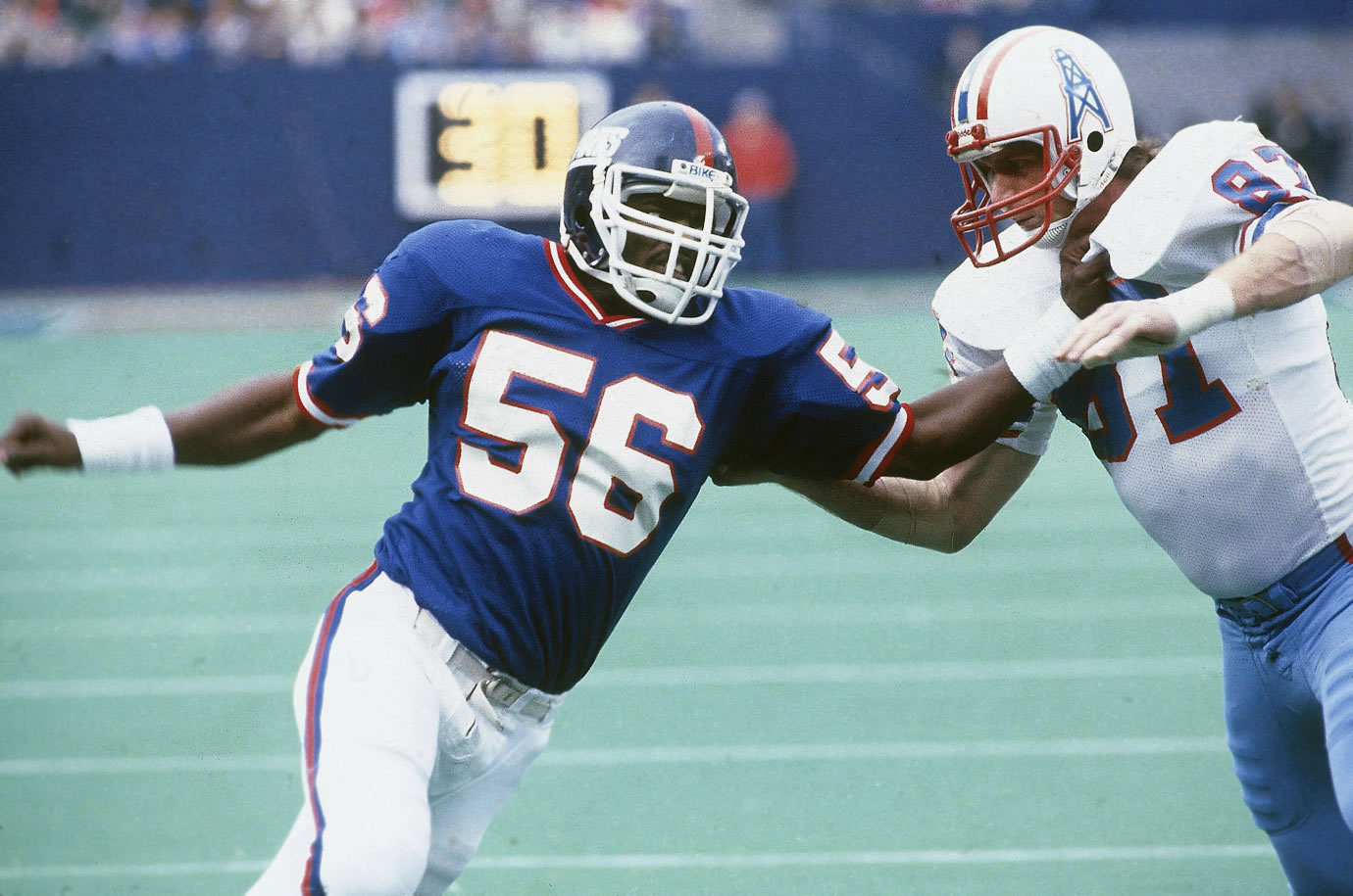 Taylor became the first true pass-rushing linebacker when Bill Parcells and Bill Belichick set him loose on the NFL in the early 1980s, and few have done it better since. Taylor played with an unbeatable combination of strength, speed and determination, and even when his off-field demons trapped him, he still brought it with authority on the field. Few defenders have ever had better seasons than Taylor's 1986, when he registered 20.5 sacks and won the MVP award.