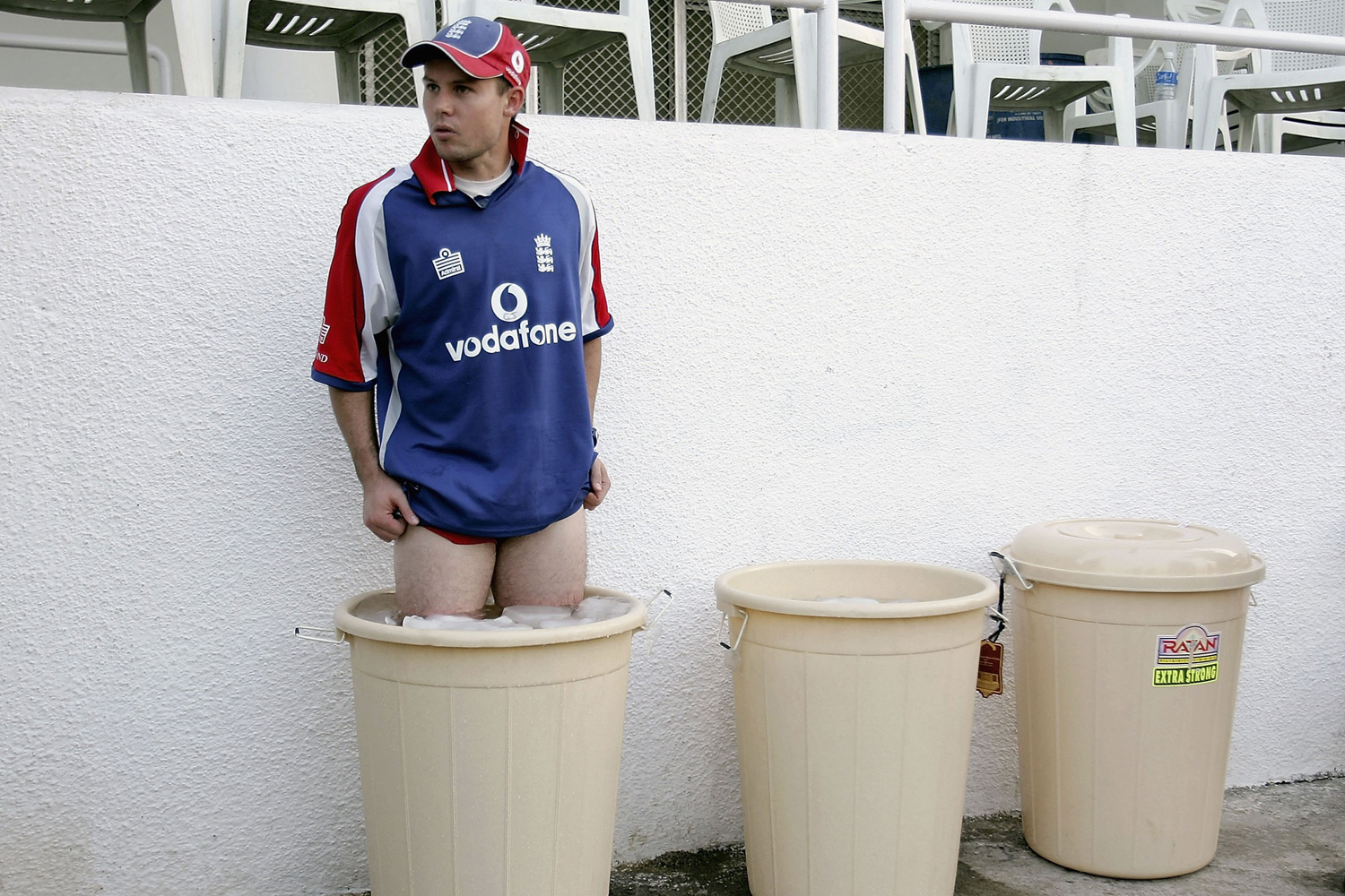 English cricketer Geraint Jones stands in an ice bath after training during a practice session at the IPCL ground on in Baroda, India.