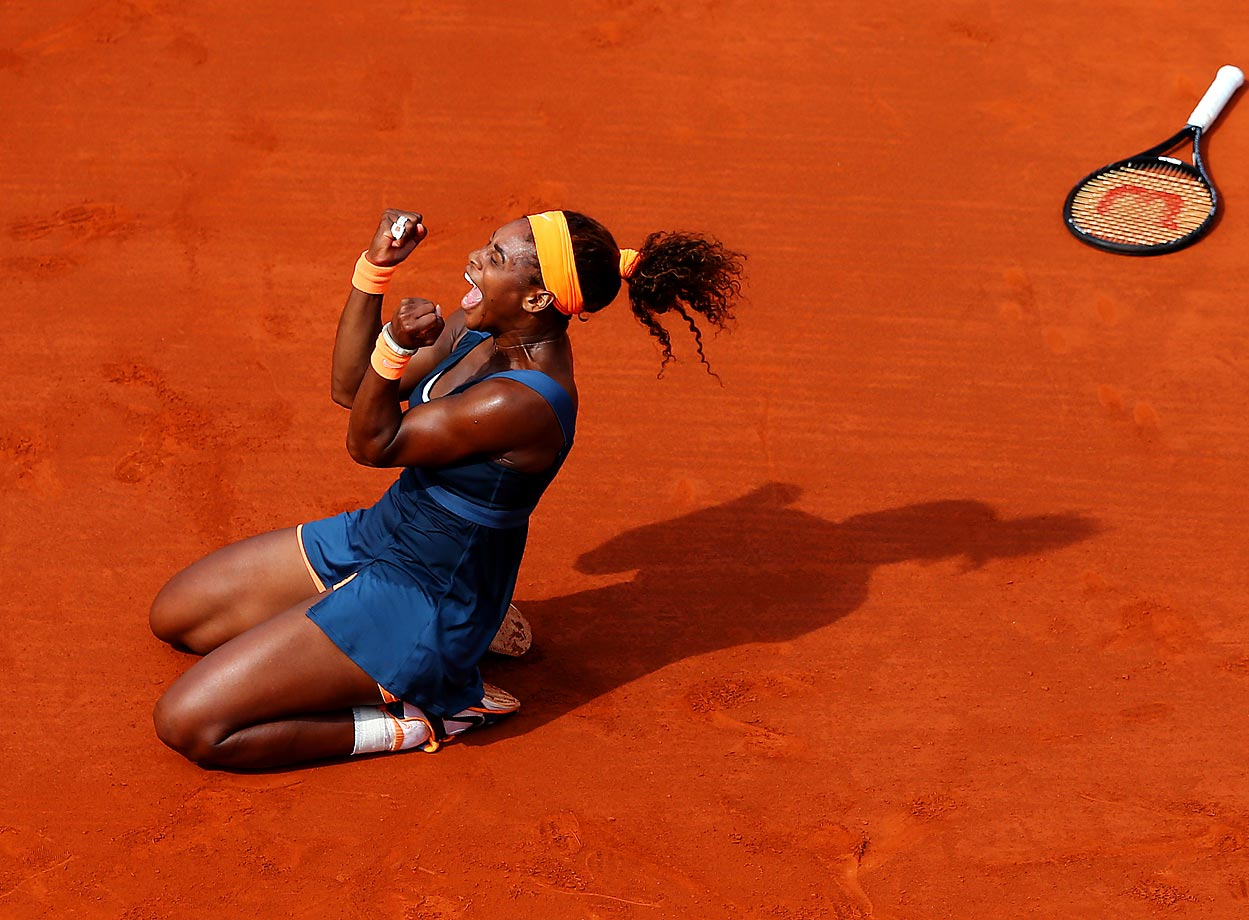 Serena finally cast off her Parisian demons—she hadn't been past the quarterfinals since 2004—to win her second French Open title 11 years after her first title in 2002.