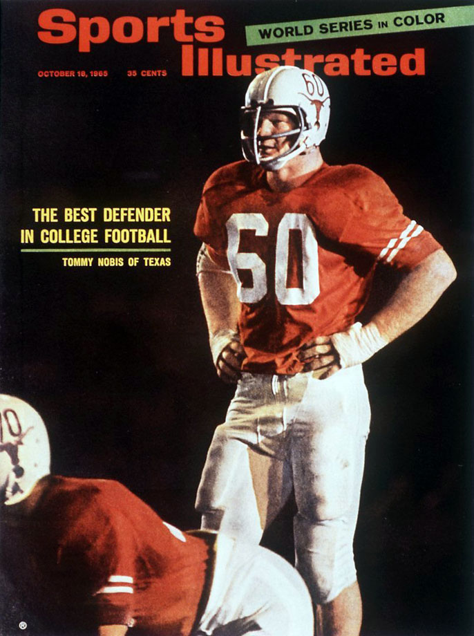Nobis lived in the trenches and helped Texas to a perfect season and national title in 1963. He was a All-America in 1964 and 1965 and won the Outland Trophy as the nation's best interior lineman. — Runner-up: Chuck Bednarik, C/LB, Penn (1946-48)