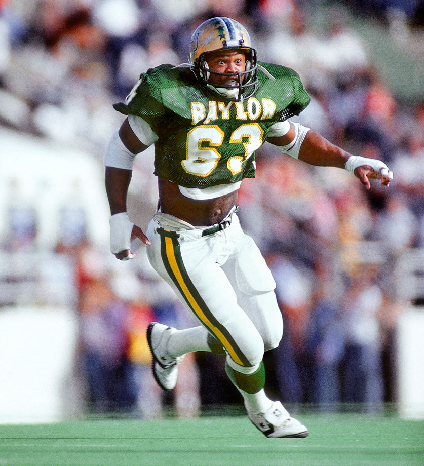 Singletary's bone-crunching tackles put him in the Baylor records books. He owns the school record for most tackles in a season (232) and most career tackles (662). In 1978 he had 35 tackles in a game against Arkansas. — Runner-up: Bill Shakespeare, HB, Notre Dame (1933-35)