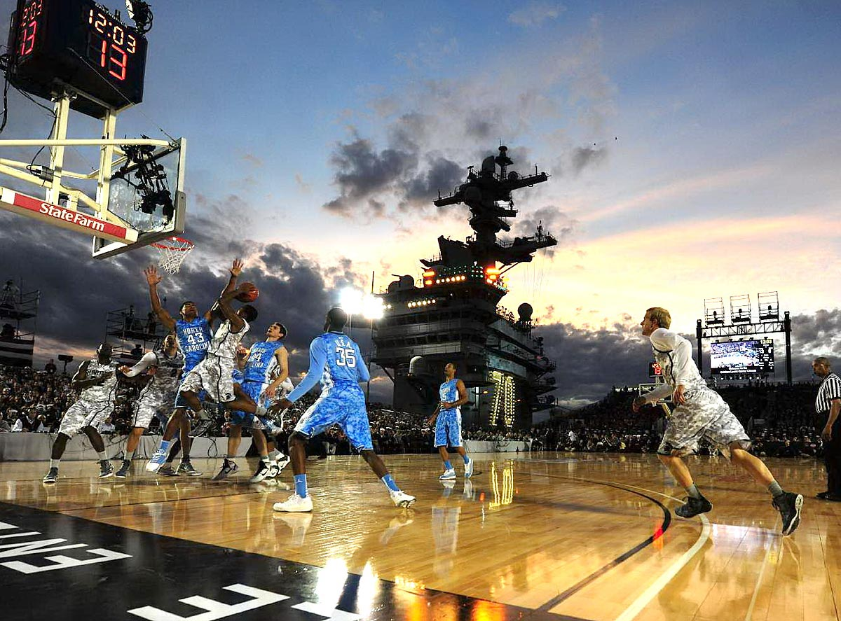 San Diego, Nov. 11, 2011 | North Carolina and Michigan State kicked off the 2011 college basketball season aboard the USS Carl Vinson off the coast of San Diego. The Tar Heels triumphed, 67-55.