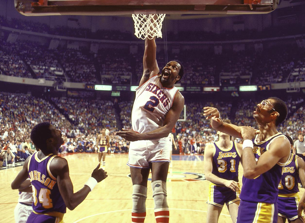 Finals MVP Moses Malone was dominant in Philadelphia's sweep of Los Angeles, averaging 25.8 points and 18 rebounds per game while outplaying L.A. center Kareem Abdul-Jabbar.