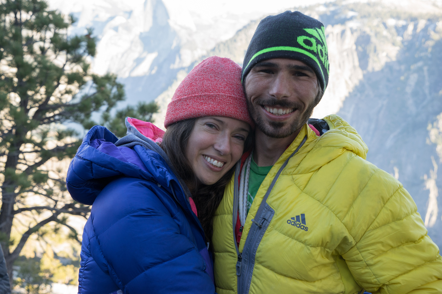 Kevin Jorgeson (in yellow) and his girlfriend Jacqui Becker (in purple).