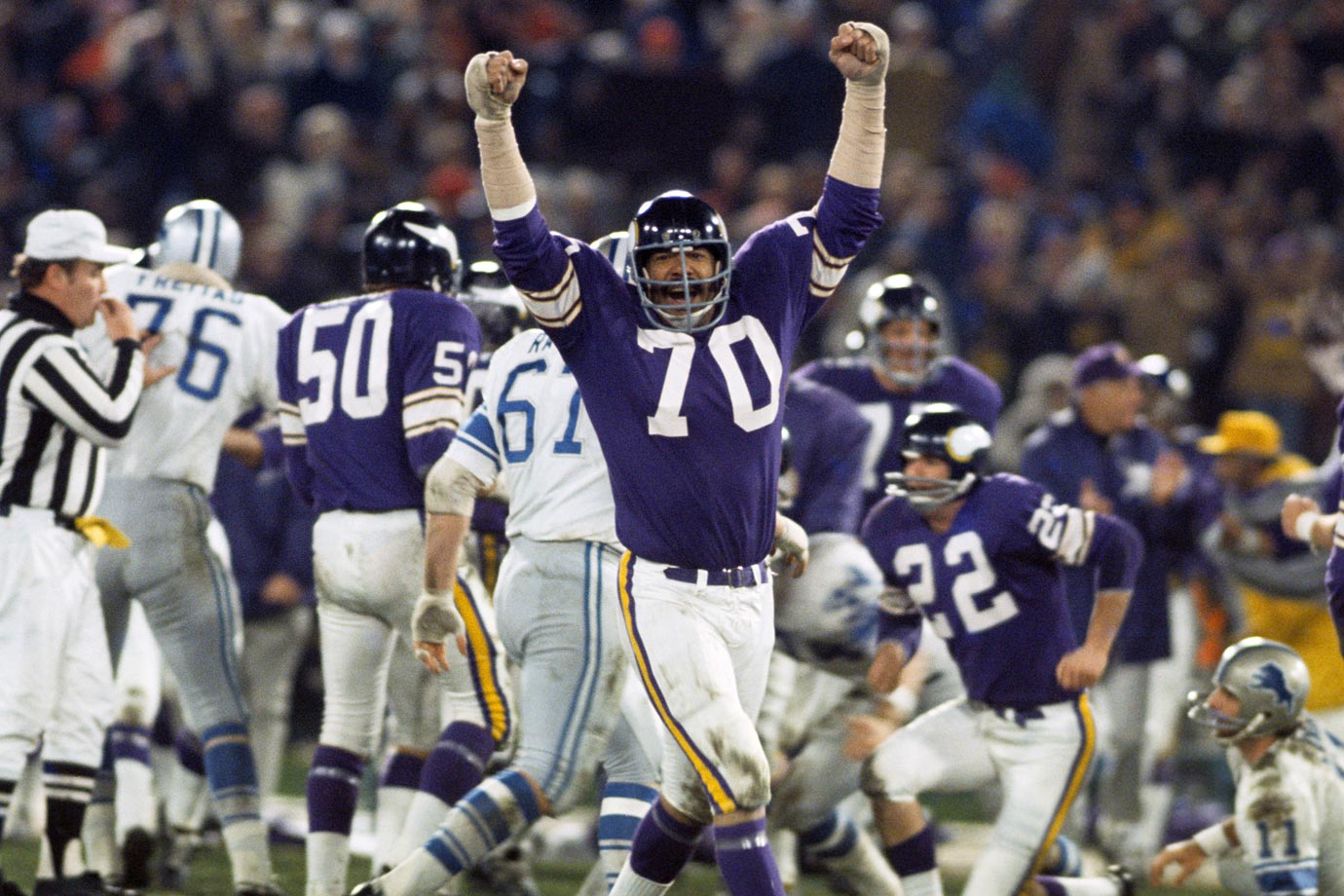 Perhaps the most glaring omission from the Hall of Fame, Marshall started 270 straight games for the Vikings, an incredible mark for a lineman. In his final game, he picked up two sacks and even played a bit of offensive tackle before his teammates carried him off the field. The Vikings credit him with 127 unofficial quarterback sacks, and he played in all four of Minnesota's Super Bowls. He was overshadowed by Alan Page and Carl Eller on the Purple People Eaters line, but he deserves his own bust in Canton.
