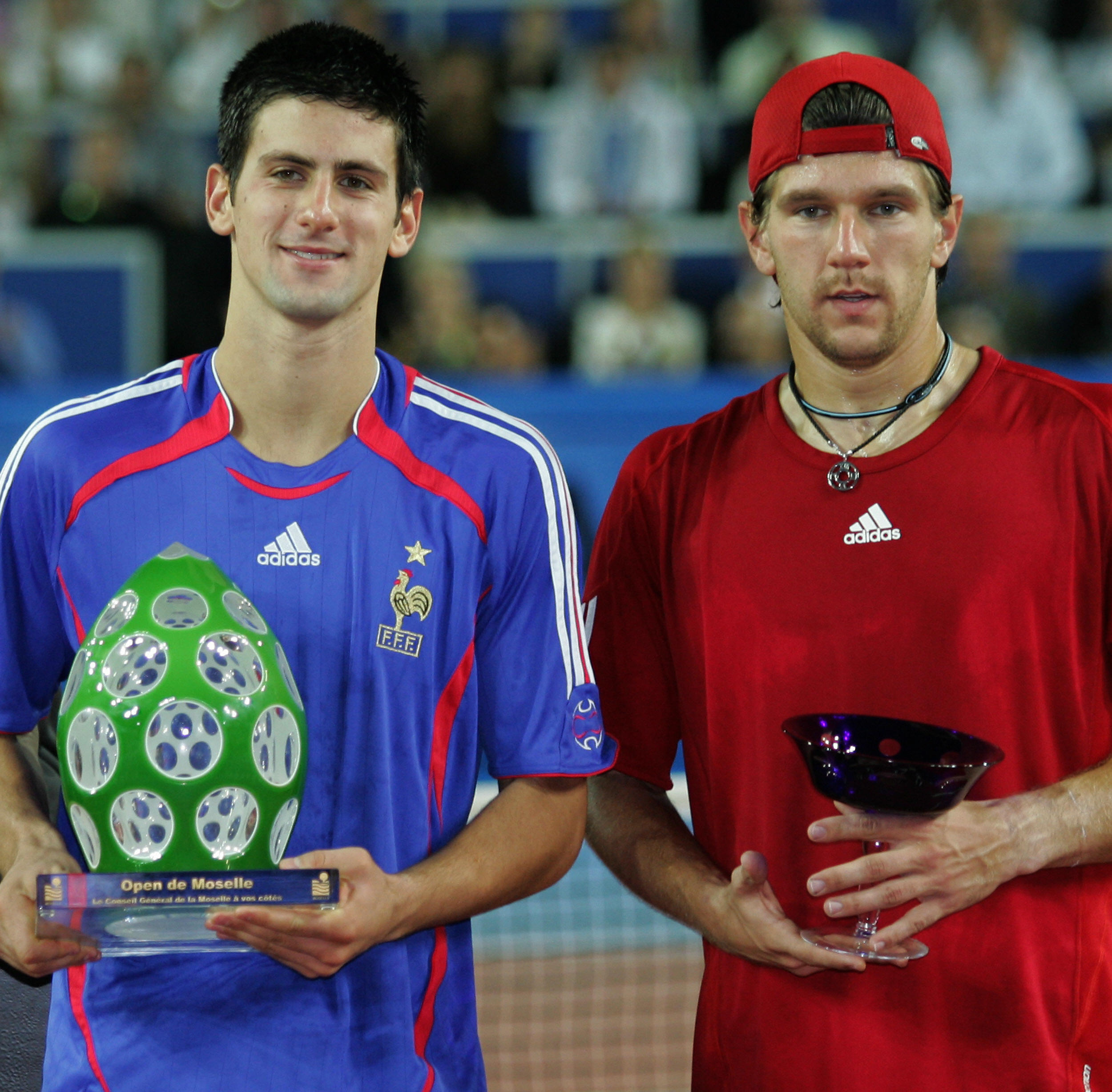 Always the crowd-pleaser, Djokovic threw on a French soccer jersey after winning the title in Metz.
