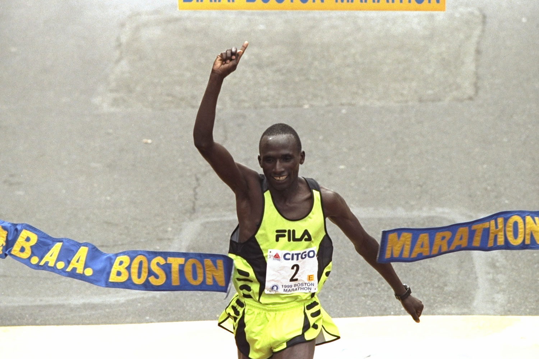 Joseph Chebet crosses the finish line to win the Boston Marathon in 2009.