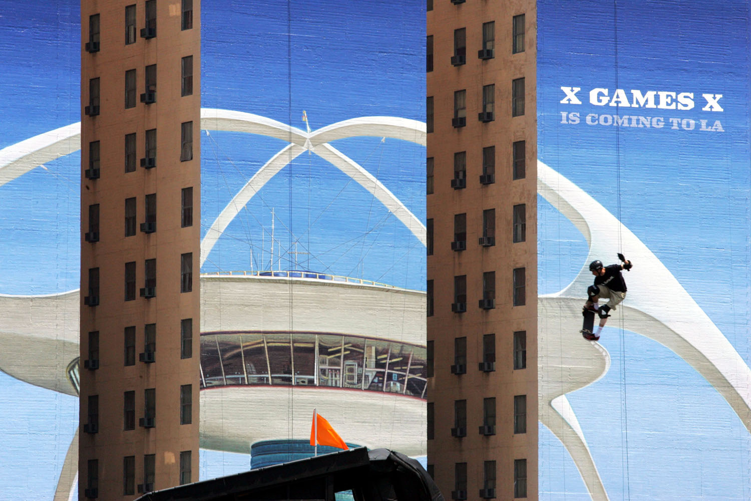 Tony Hawk attempts to land his jump in the Skateboard Big Air competition during the X Games 11 on August 5, 2004 at the Staples Center in Los Angeles, California.