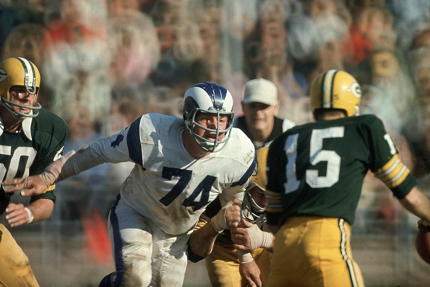 While Deacon Jones gets all the name-checks when people talk about the Rams' Fearsome Foursome front line, it's Olsen who was the greatest and most consistent player of the bunch. A 14-time Pro Bowler, Olsen brought the intelligence he used to get a degree in economics and develop a successful acting career to the field, and few could match his effectiveness. While all was chaos around him, Olsen would diagnose the offensive play and, more often than not, blow it up.