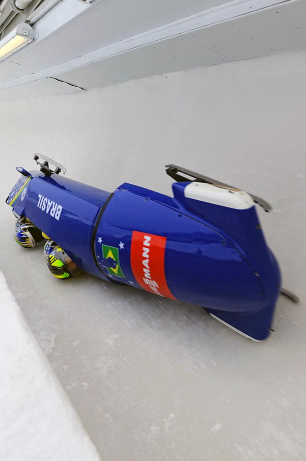 The Brazil 1 bobsled flips over during the 4-Man Bobsleigh World Cup in Lake Placid.