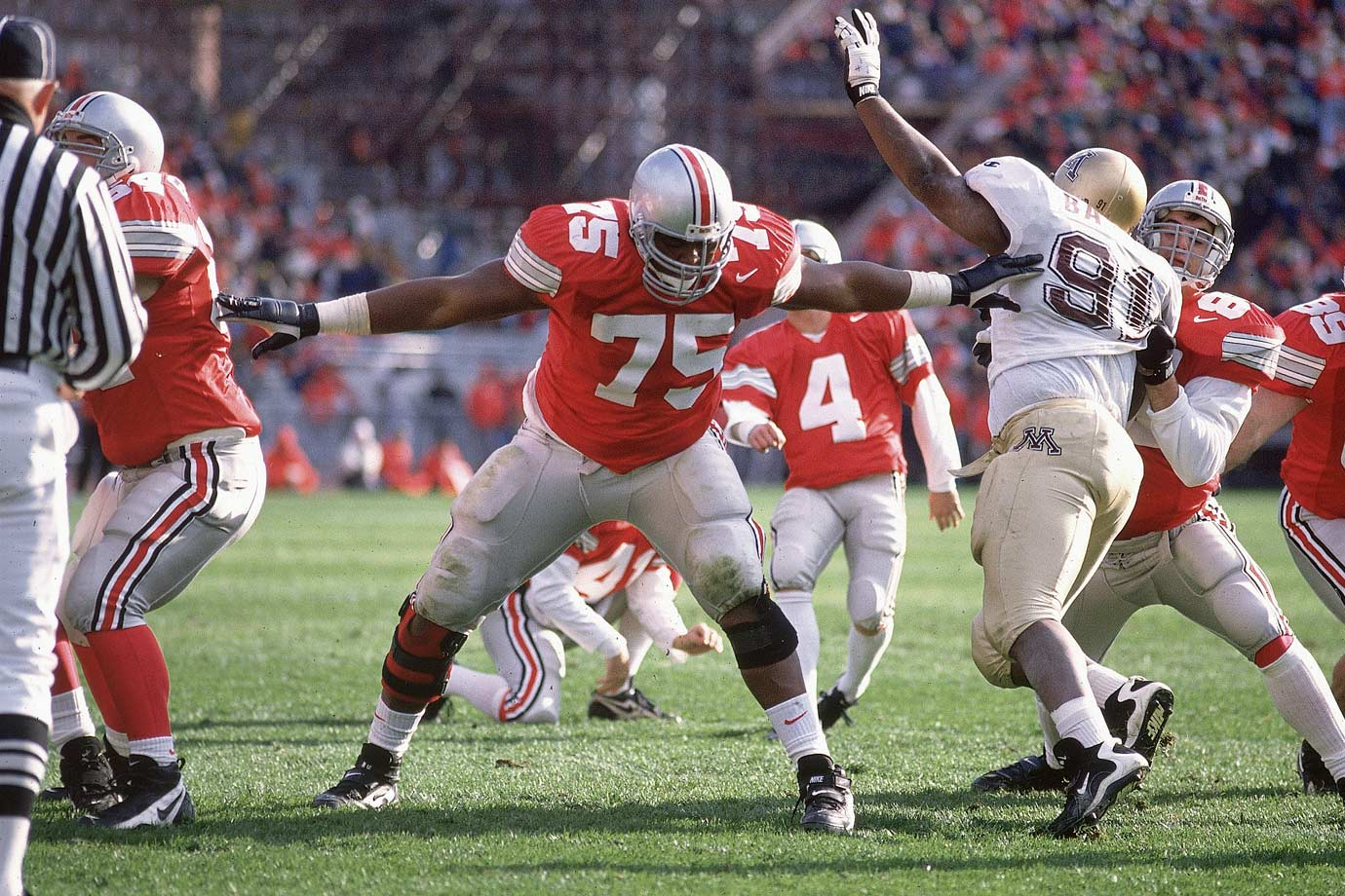 Pace's massive size, speed, strength and agility made him the ultimate lineman. He won the Lombardi Award in 1995 and '96 and the Outland in 1996. He finished fourth in the 1996 Heisman balloting, the best finish for a lineman since OSU's John Hicks was second in 1973. — Runner-up: Joe Greene, DE, North Texas State (1966-68)