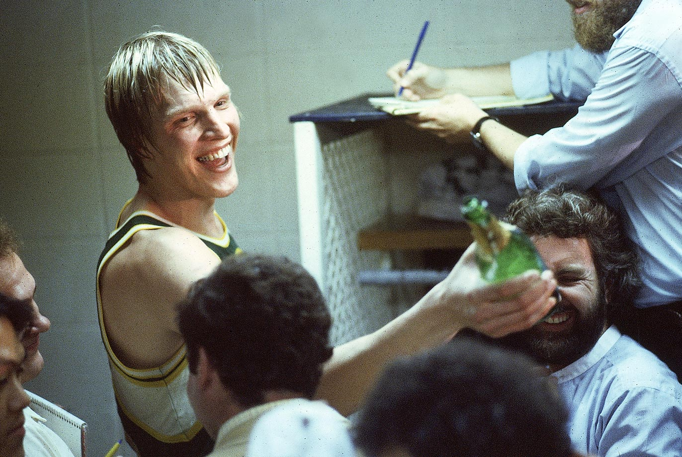 Jack Sikma of the Supersonics celebrates after the series-winning Game 5 against the Washington Bullets. It would be Seattle's lone championship in franchise history.