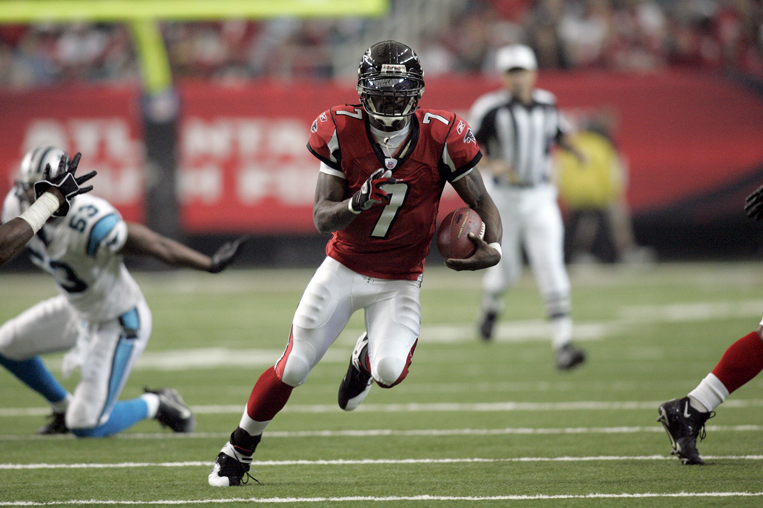 Widely regarded as one of the most versatile quarterbacks in the NFL, Vick was drafted with the first overall pick in the 2001 NFL Draft by the Atlanta Falcons. Since then, he's been selected to four Pro-Bowls, spent 23 months in federal prison and has recently resurrected his career with the Philadelphia Eagles. (*Vick's time was calculated before the NFL implemented electronic timing to improve accuracy.)