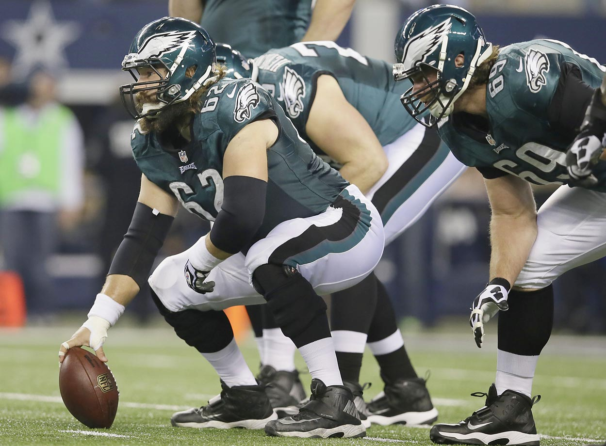This line will continue to rest on the excellence of left tackle Jason Peters and center Jason Kelce (pictured). Worth watching: Peters gave up one sack in each of the last three games of the 2014 season.