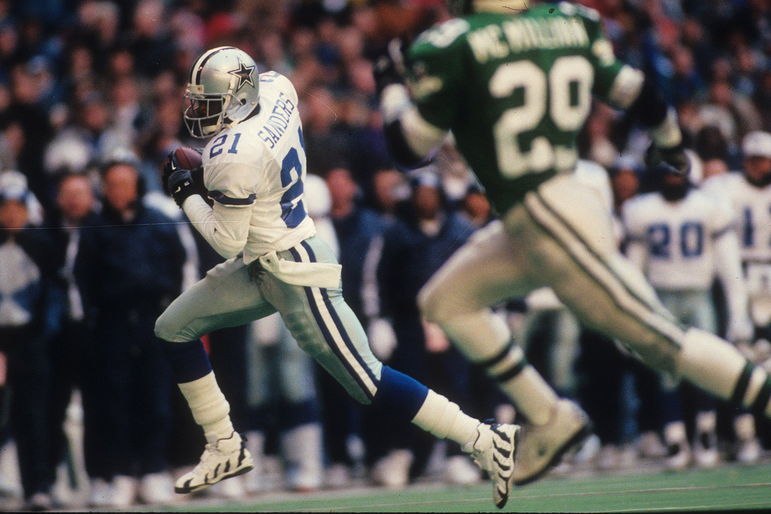 Pro Football Hall of Famer Deion Sanders is one of the most widely recognized football players of all-time due to his time with the Dallas Cowboys and his part-time Major League Baseball career, in which he played nine seasons. Sanders was drafted with the 5th overall pick in 1989. (*Sanders' time was calculated before the NFL implemented electronic timing to improve accuracy.)