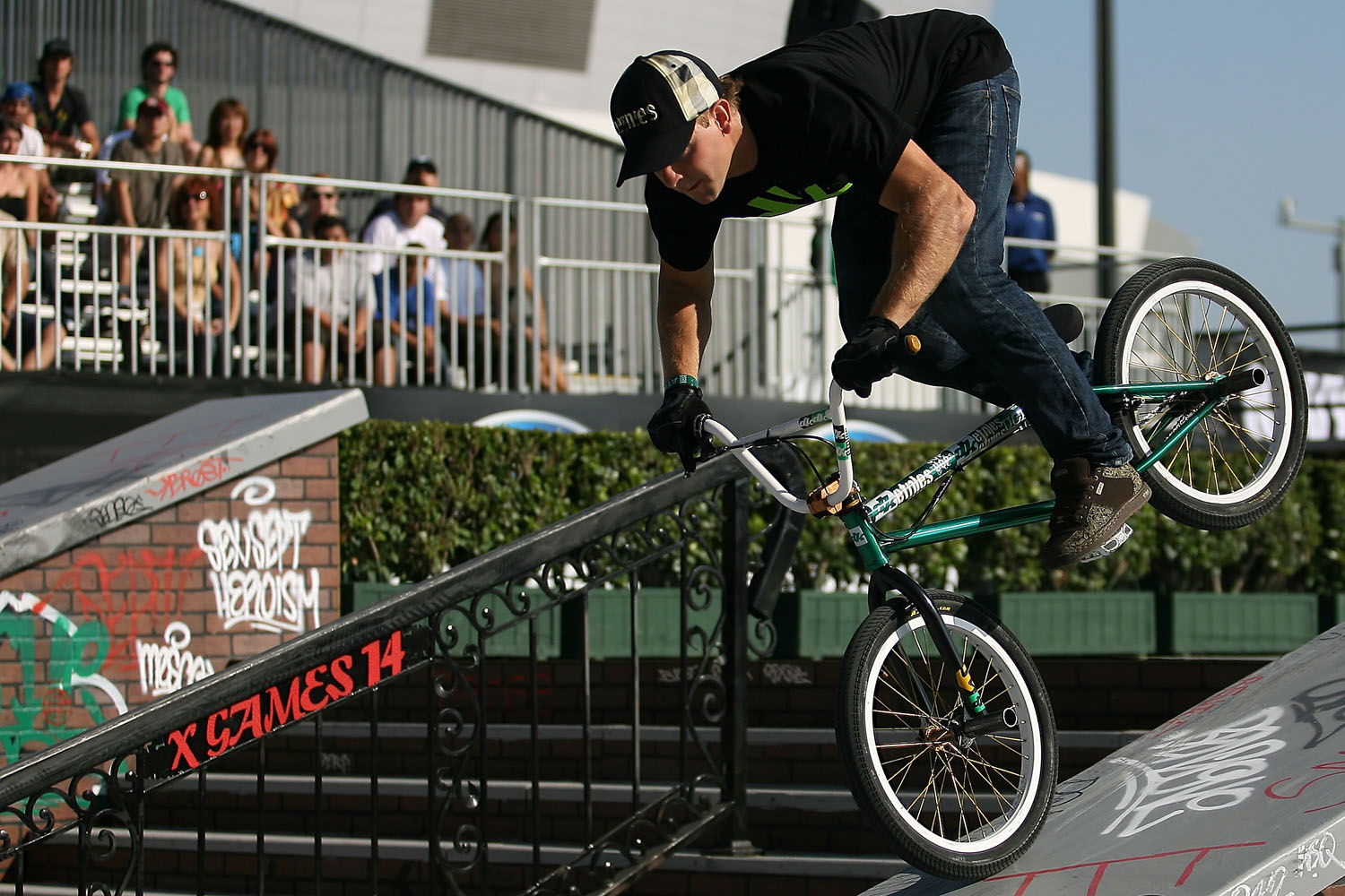 A competitor participates in the BMX Freestyle Street final during X Games 14 on July 31, 2008 at the Staples Center in Los Angeles, California.