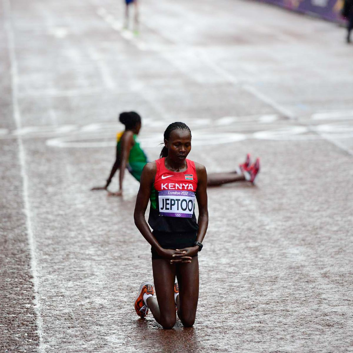 London Olympics, Aug. 5, 2012 | After finishing five seconds behind winner Tiki Gelana of Ethiopia in the hard-fought women's marathon, silver medalist Priscah Jeptoo of Kenya paused.