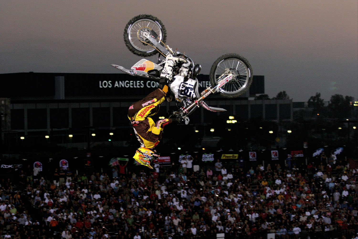 Moto Best Trick participant Travis Pastrana at X Games 11 at the Staples Center in Los Angeles, California on August 4, 2005.