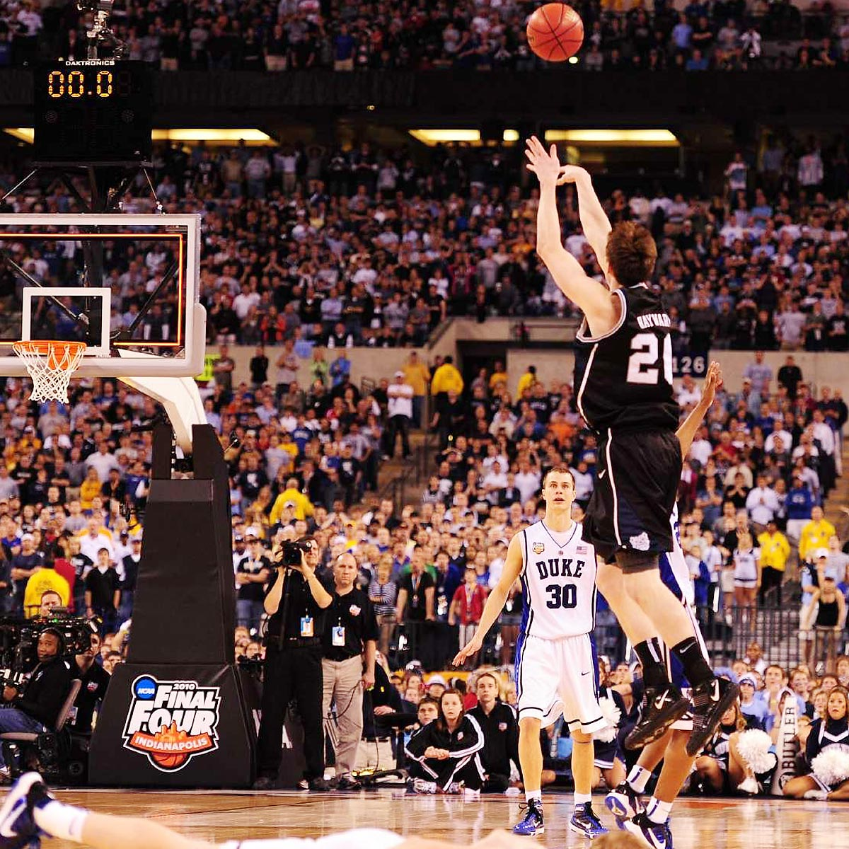 Duke vs. Butler, NCAA Men's Basketball Championship game, 2010 | Trailing 61-59 in the final seconds of the championship game, Butler star Gordon Hayward had a chance to win it all with his half-court heave. The shot hit the backboard and clanged off the rim, giving Duke its fourth title.