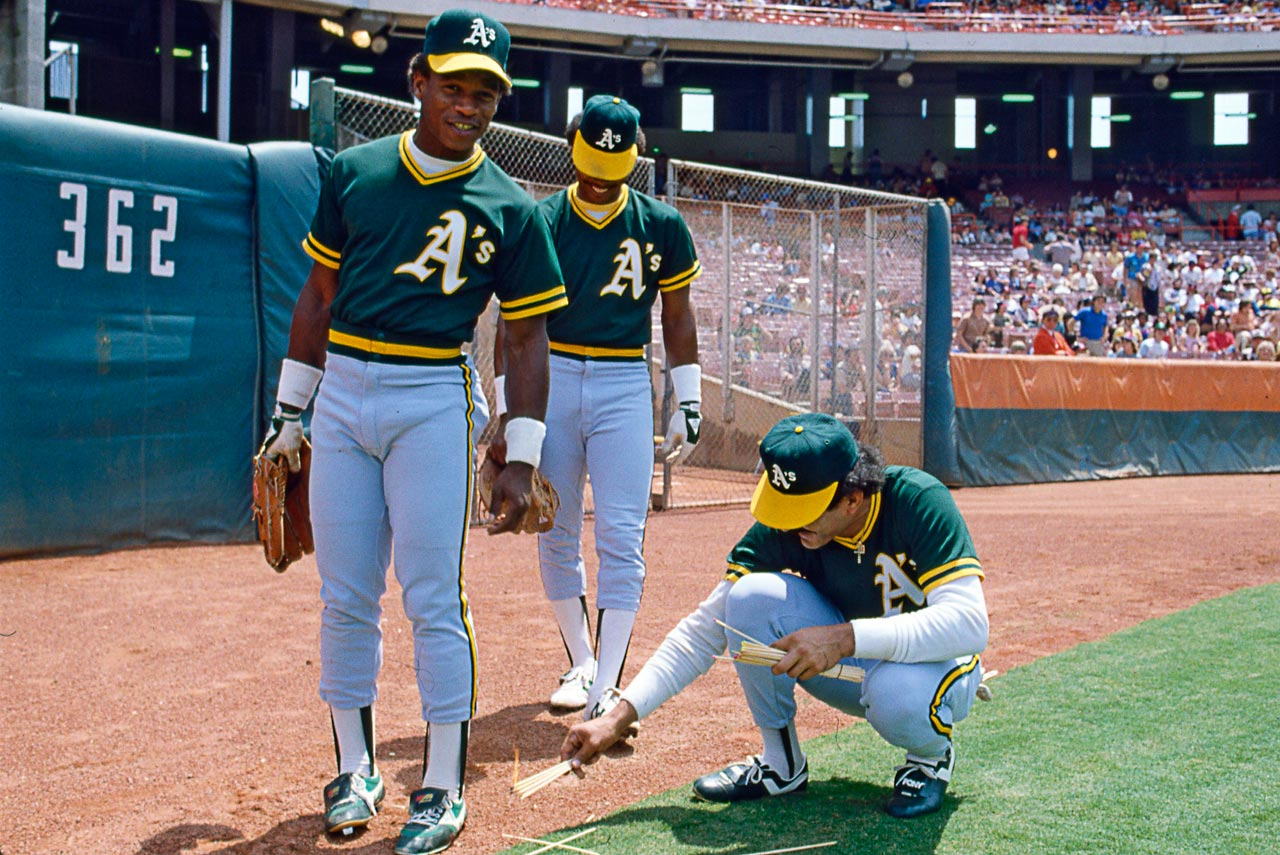 A's outfielders Ricky Henderson, Dwayne Murphy and Tony Armas clown around on the warning track in 1982. The three made up the best young outfield in baseball, providing the bulk of the highlights in an otherwise disappointing A's season.