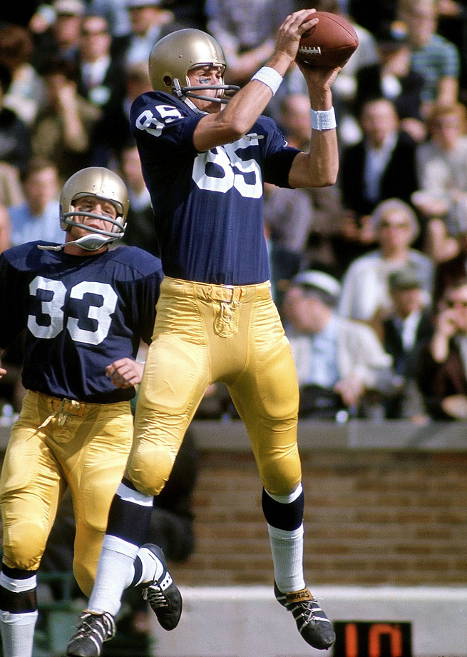 A two-time All-America selection (1967, '68), Seymour led the Irish in receiving for three seasons and holds the school's receiving record for pass receptions in a game with 13. — Runner-up: Jack Snow, WR, Notre Dame (1962-64)