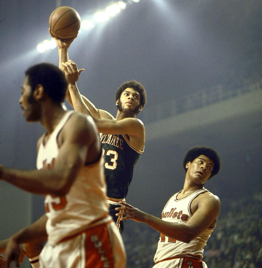 Lew Alcindor lofts one of his signature hook shots. Alcindor won the Finals MVP award, averaging 27 points and 18.5 rebounds in the four-game Milwaukee sweep.