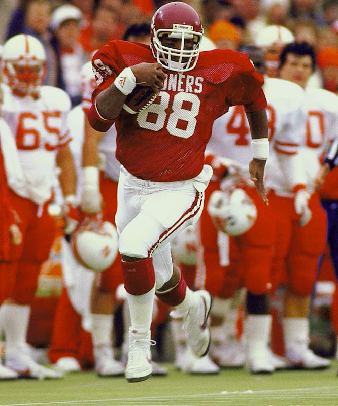 Jackson was a unanimous All-America selection in 1986 and '87. His speed and playmaking ability allowed him to pull in 62 passes for 1,470 yards in a run-heavy offense: Oklahoma was 42-5-1 during his time in Norman. — Runner-up: Jerry Rice, WR, Mississippi Valley State (1981-84)