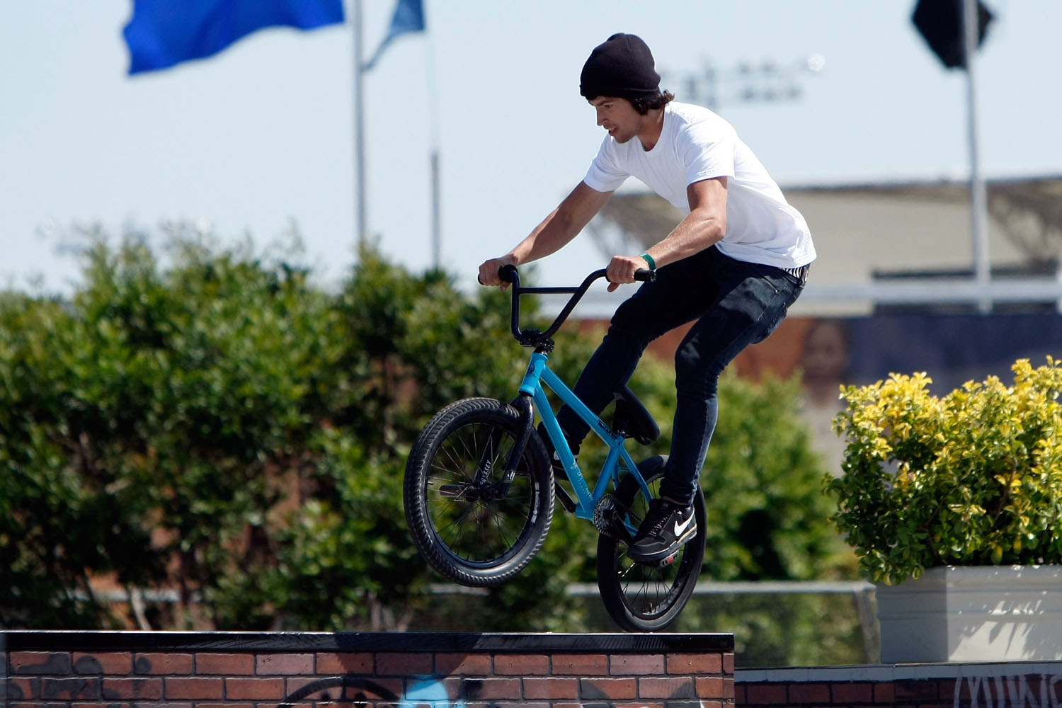 Garrett Reynolds competes in the BMX Freestyle Street event during X Games 15 at the Home Depot Center on August 1, 2009 in Carson, California.
