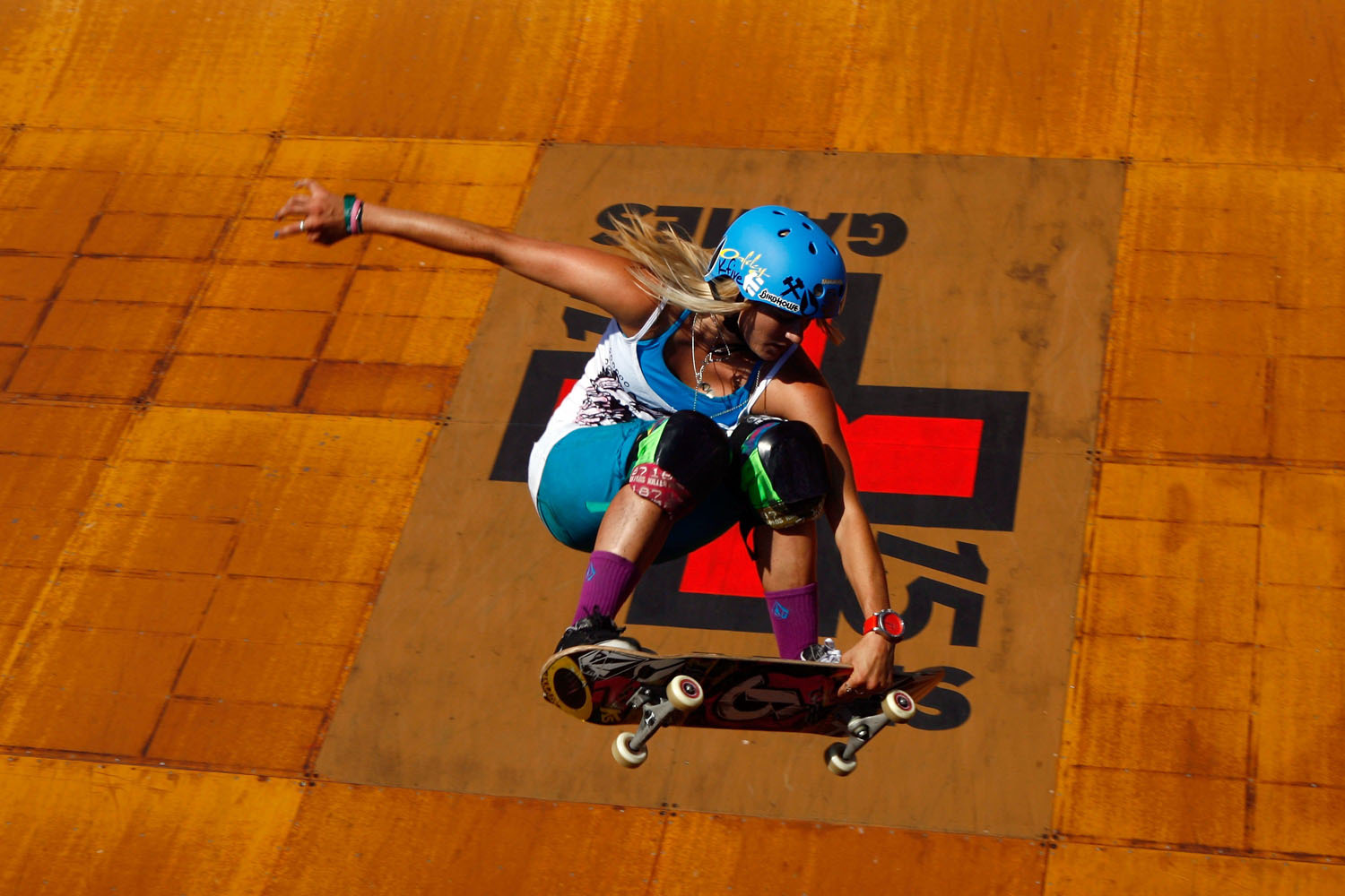 Lyn-z Adams Hawkins competes in the Women's Skateboard Vert final during X Games 15 at the Home Depot Center on July 30, 2009 in Carson, California.