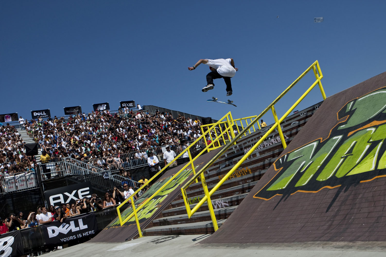 Paul Rodriguez looks to land a trick in the Men's Skateboard Street finals at Summer X Games 15 at Home Depot Center on August 1, 2009 in Carson, California.