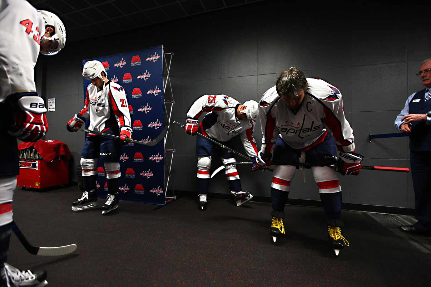 Fully dressed for battle, the Capitals prepare to take the ice for warmups.