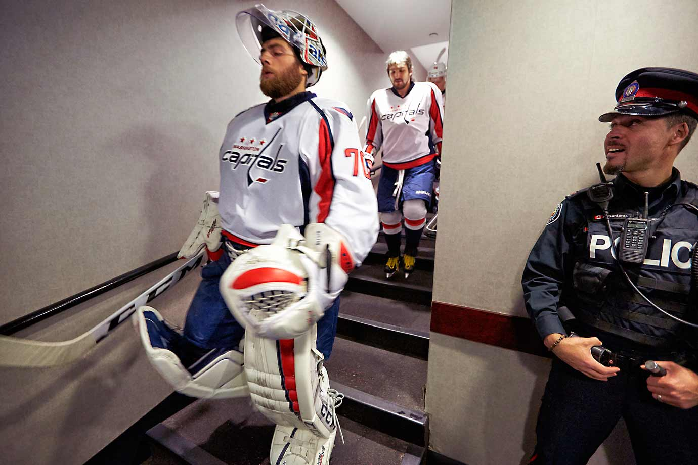 At 6:35 p.m. the Caps' star netminder leads the team out for its pregame skate.