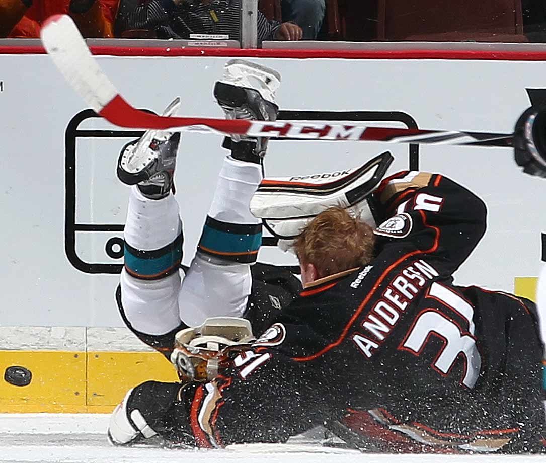 Stick with it: A Shark and a Duck collide during their tilt at Anaheim's Honda Center on Oct. 26, 2014.