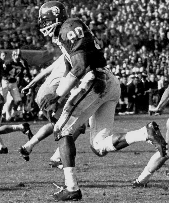 Webster was twice an All-America. During his time at Michigan State, the Spartans were ranked first in the nation in 1965 and second in 1966. Runner-up: Steve Emtman, DT, Washington (1989-91)