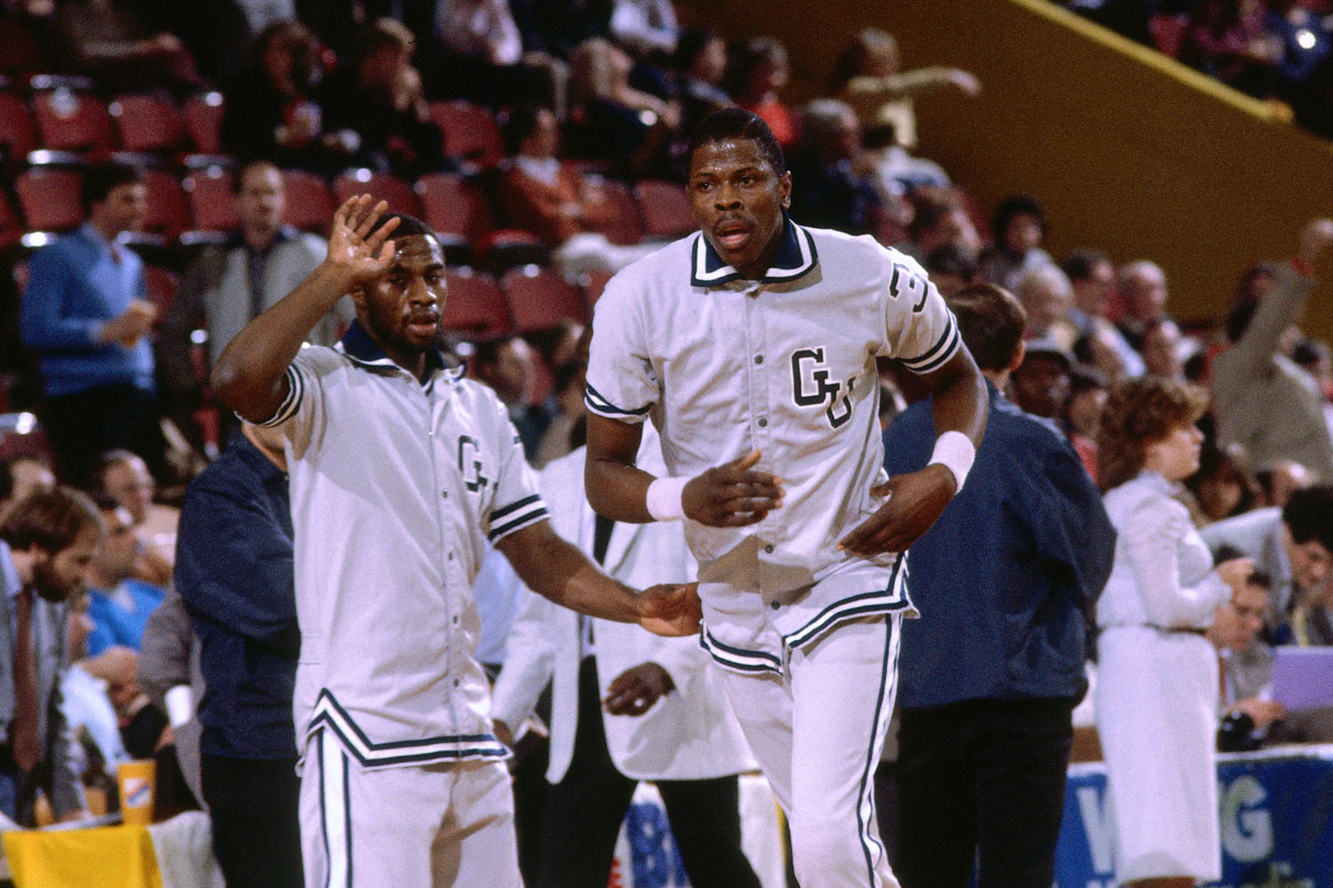 Patrick Ewing of Georgetown University walks on the court during warm-ups prior to NCAA game played in 1983 at the Boston Garden in Boston, Massachusetts.