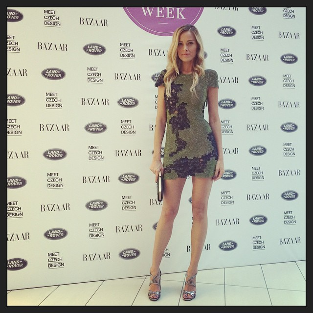 Last day of #UniqueFshionWeek in #Prague. #AlfredoVillalba #dress, #prada #shoes and #Feragamo #clutch