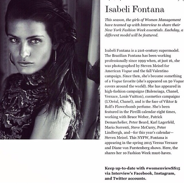 Sharing my 10 must haves for #fashionweek with @interviewmag. Read more: http://goo.gl/irz64r #womenviewss15. #NYFW