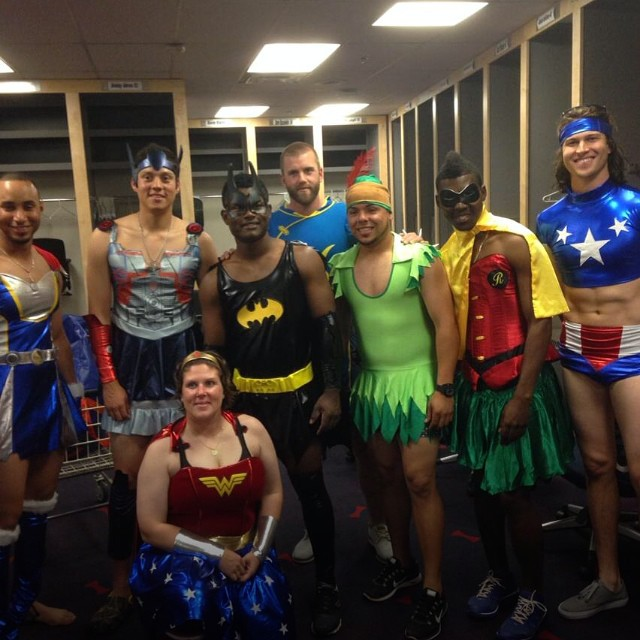Jacob deGrom's heroic 10-strikeout performance over the Braves warranted this post-game celebration. That's deGrom on the right, the generic-brand Wonder Woman.