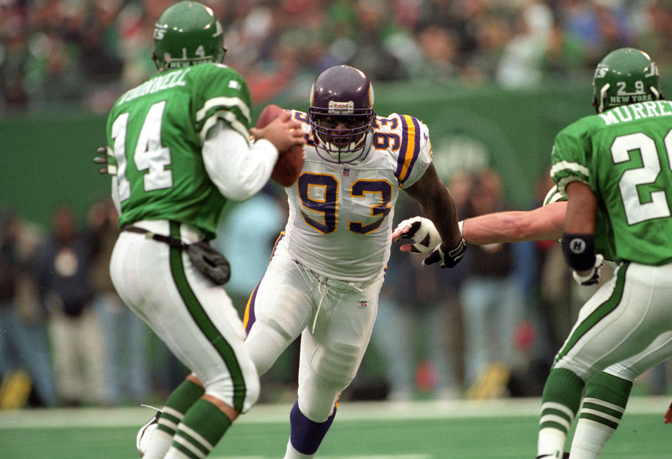 "The 6'1"", 290-pound Randle went undrafted out of Texas A&M-Kingsville, caught on with the Vikings and never looked back. With his amazing speed and leverage,  Randle became the prototype of the modern three-technique tackle, putting up 137.5 sacks over his career, including 10 or more in eight straight seasons from 1992 through '99."