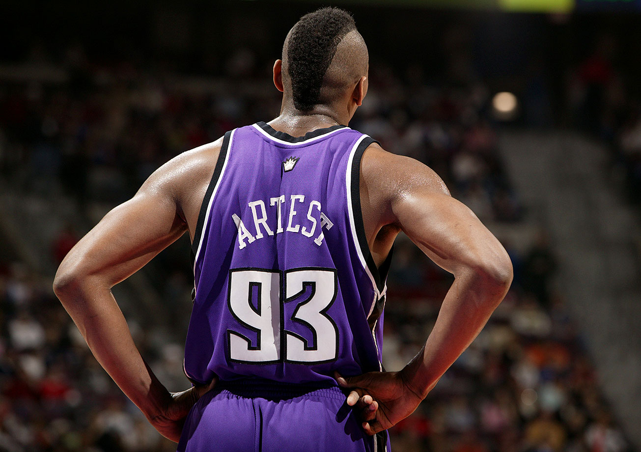 "Before changing his name to Metta World Peace, Ron Artest wore No. 93 from 2006-08 with the Sacramento Kings. Artest donned seven different numbers in his career, and his personality and antics both on and off the court have overshadowed just how good he was in his prime. An elite, versatile defender for many years, Artest was averaging 24.6 points per game in 2005 before being suspended for the ""Malice at the Palace"" incident and missing the entire season."