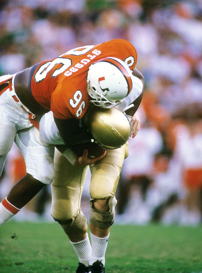 His 39.5 career sacks and 17 sacks during the 1986 season remain school records. Stubbs won the Outland in 1987, the same year Miami won its second national title. — Runner-up: George Andrews, DE, Nebraska (1976-78)