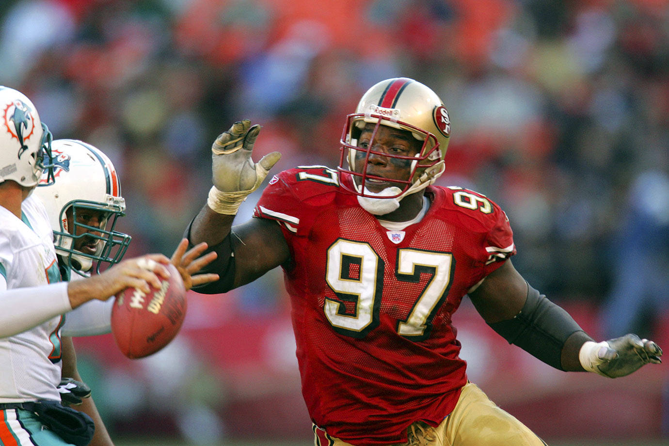 The 49ers won the last of their five Super Bowls in Young's rookie season, and the first-round pick played an important part with six regular-season sacks and another in the playoffs. He would top 10 sacks in two different seasons and end his career with 89.5. Only Warren Sapp, John Randle and Trevor Pryce have more career sacks among full-time tackles.