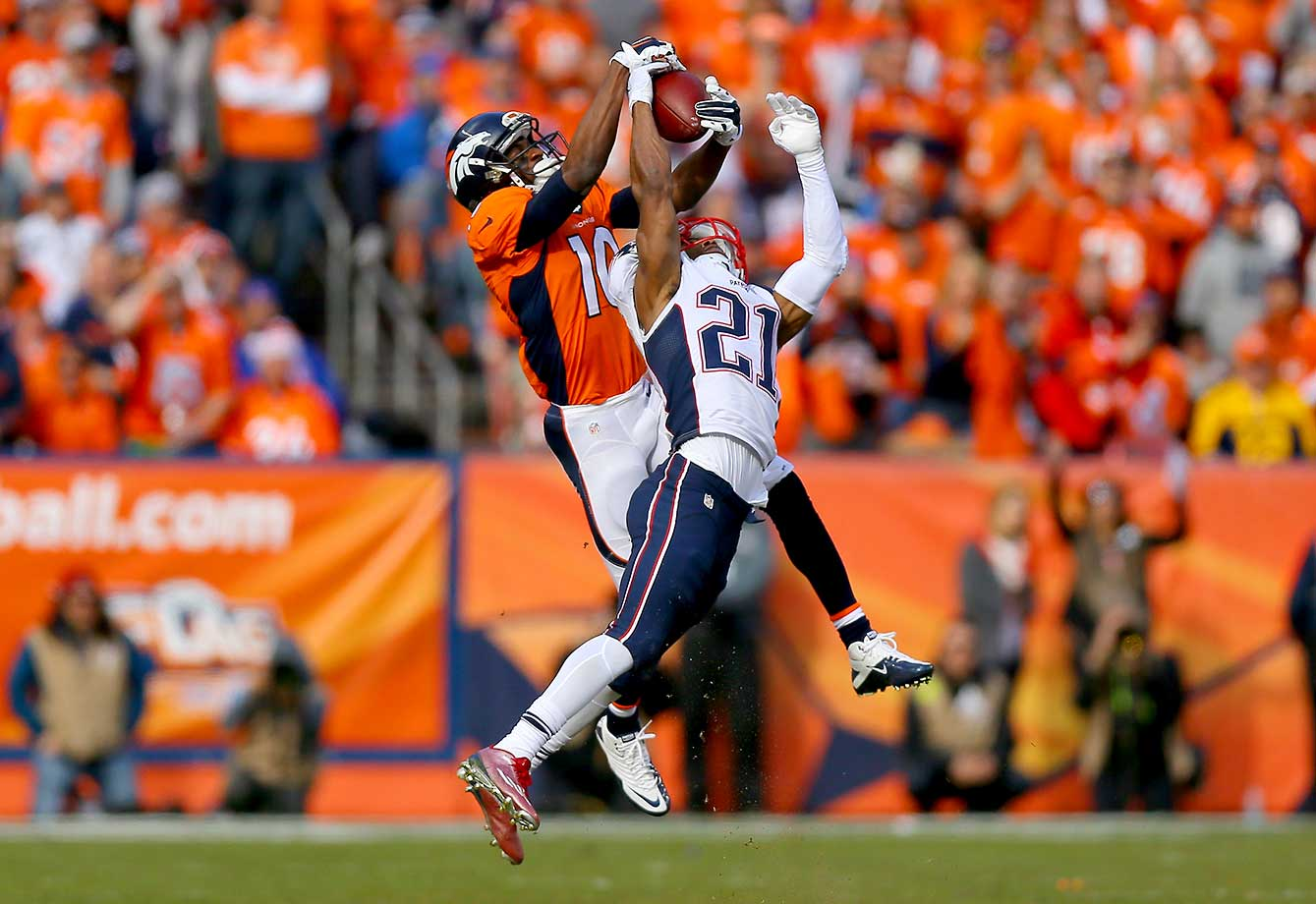 Emmanuel Sanders makes a catch for a first down over Malcolm Butler in the first quarter.