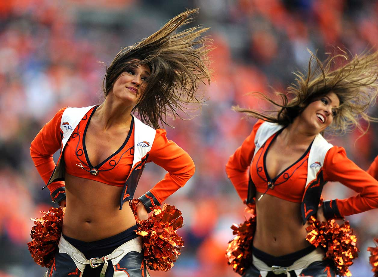 The Denver Broncos cheerleaders perform.