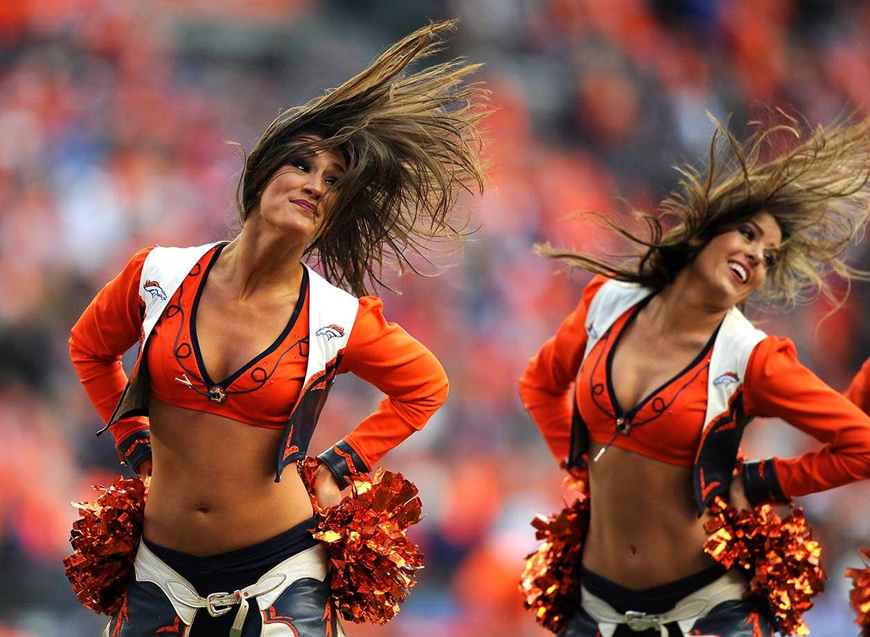 The Denver Broncos cheerleaders perform.