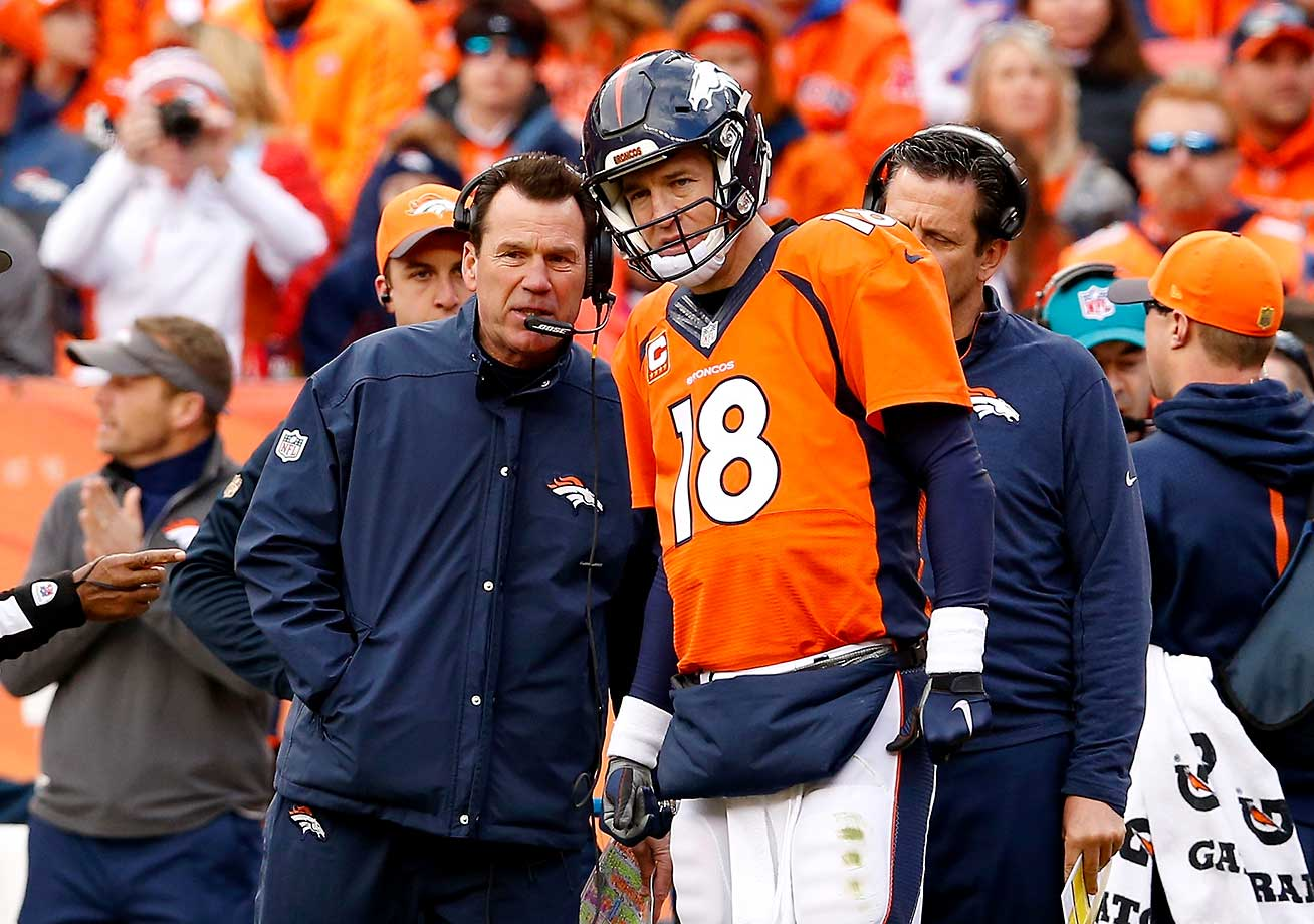 Head coach Gary Kubiak speaks to  Peyton Manning.