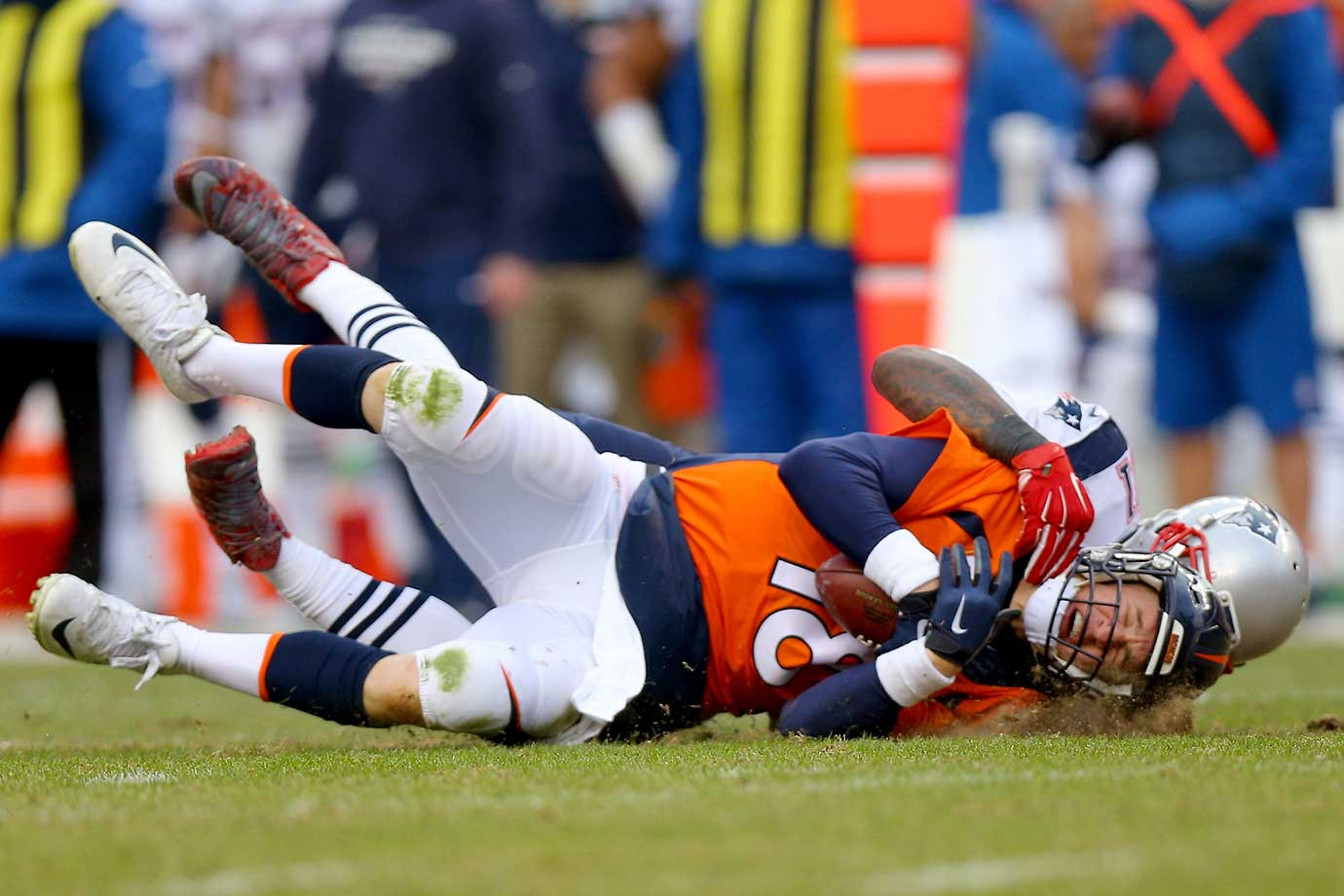 Peyton Manning is sacked by Jamie Collins in the second half.