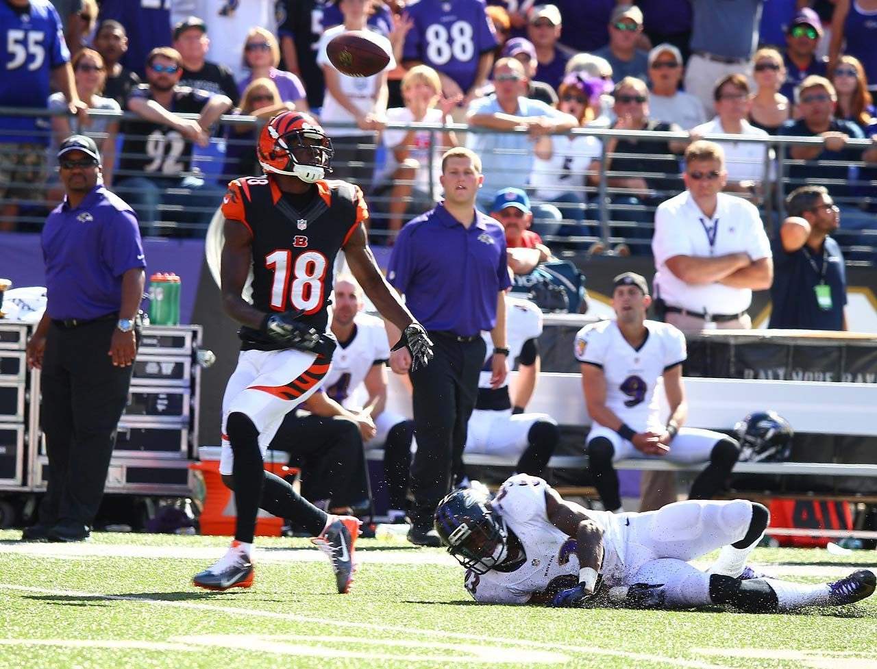 Wide receiver A.J. Green of the  Bengals keeps his eye on the ball, before scoring a touchdown on this play.